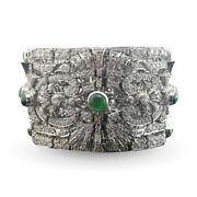 Solid 925 Sterling Silver Bracelet Cz Green Cabochon White Round Vintage Style
