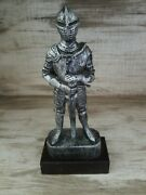 Antique Look Miniature Small Suit Of Armor Plastic 9 In. Tall On Wood Base