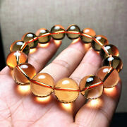 Excellent Natural Orange-yellow Crystal Stretch Round Bead Bracelet 14mm