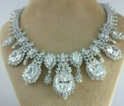 925 Sterling Silver Necklace White 100ct Cushion Pear Halo Highend Jewel