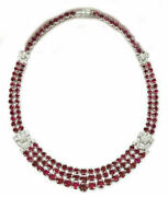 925 Sterling Silver Necklace Royal Red Round Cocktail Highend Collar