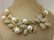 925 Sterling Silver Necklace Shell Pearl Leaf Engagment Party Gift