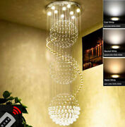 Modern Dimmable Led Clear Crystal Chandelier Ceiling Lamp Fixture Lighting 855