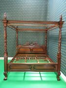 Bespoke 5and039 King Four Poster Mahogany Wooden Queen Anne Chippendale Canopy Bed