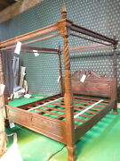 Usa King Size Antique Mahogany Queen Anne Reproduction Four Poster Canopy Bed