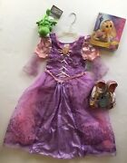 Nwt Disney Store Tangled Rapunzel Costume S 5-6 Braid Wig Shoes And Pascal Plush