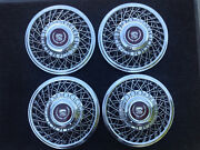 Cadillac, Chrome Metal Hub Caps With Gold/maroon Emblems 14 - Complete Set Of 4