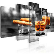 Luxury Cigar And Iced Wine 5 Pcs Canvas Wall Room Home Decorating Poster Picture