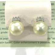 15.6 Mm South Sea Pearl And Diamond 18k White Gold Earrings
