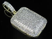 Men's 10k Yellow Gold Dome Pillow Iced-out Diamond Pendant Charm 3.26ct 1.75