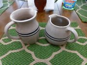 Lot Of 2 Antique Vintage Stoneware Pottery Pitchers Blue Bands Great Condition