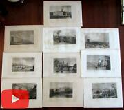 England United Kingdom C.1840and039s Engraved Views Lot X 10 City Birds-eyes Castles