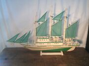 Vintage Lg Model Boat Green Wave Hand Made In The Philippines 31in Long In Orig