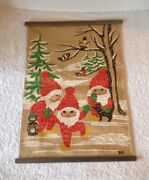Vintage Swedish Burlap Christmas Forest Gnomes Wall Hanging Signed Hill Cute