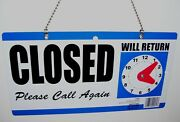 Business Open And Closed Sign With Adjustable Clock To Show Return Time New