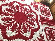 Hawaiian Quilt K/q Bedspread 100 Hand Quilted/hand Appliquandeacuted 2 Shams Ginger Lei