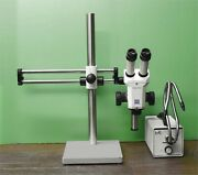 Zeiss Stemi Sv6 Stereo Microscope With Boom Stand And Cold Light Source