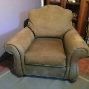 Ethan Allen Whitney Chair Pale Green Brushed Leather Very Comfortable