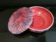 Trinket Bowl Box Pottery Drip Flow Blue Marked Signed 5 Times Pink Blue Old Uniq