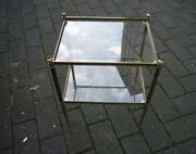 Pair Of 1940s Vintage French Brass Side Tables Maison Jansen / Bagues