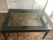 Large Hand Carved Wood With Glass Large Dining Room Table Seats Up To 8