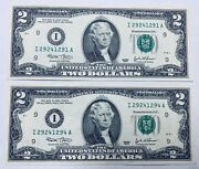 2003 2 Two Dollar Bill Federal Reserve Note Minneapolis Fr 1937-i - Lot Of 2