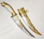 Gold-plated Knife Damascus Steel East Luxury Expensive Gift For Men