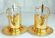 Tea Set For Two Persons, Luxury Expensive Gift. Holiday, Joyful Event, Gilding