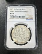 1977 Kh Ms68 Finland 10 Markkaa Ngc Un Km 55 400k Minted 60th Anniv Independence