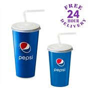 500 X 22oz Pepsi Paper Cups With Lids And Straws - Cold Drinks Cup Fizzy Coca Cola