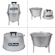 14 In. Charcoal Grill In Silver | Old Smokey Steel Small Stainless Removable Ash