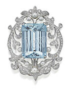 Christmas 2.31ctw Natural Round Diamond Pearl Blue Topaz 14k White Gold Brooch
