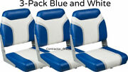 3-pack Of Blue And White Folding Boat Seats Boating Bass Fishing Pontoon Set New