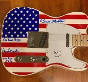 The Beach Boys Signed Electric Guitar Wilson, Johnston And Marks Proof 1