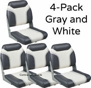 New 4-pack Of Gray And White Folding Boat Seats Boating Bass Fishing Pontoon Set