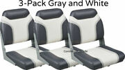 New 3-pack Of Gray And White Folding Boat Seats Boating Bass Fishing Pontoon Set
