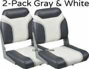 New 2-pack Of Gray And White Folding Boat Seats Boating Bass Fishing Pontoon Set