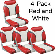New 4-pack Of Red And White Folding Boat Seats Boating Bass Fishing Pontoon Set