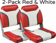 New 2-pack Of Red And White Folding Boat Seats Boating Bass Fishing Pontoon Set