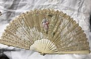 Large Victorian Hand Painted Fan Organdi Chantilly Lace