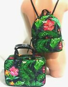 Victorias Secret Tropic Jetsetter Backpack And Hanging Travel Train Case Bag Nwt