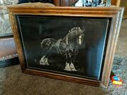 26x20 Framed Black And White Clydesdale Print J. Hill