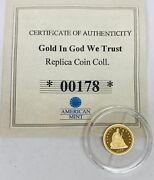 In God We Trust Tribute To 1866 Seated Liberty Half Gold Mini Coin American Mint