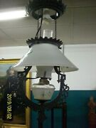 Bradley And Hubbard 1877 Cast Iron Oil Lamp Converted To Electic Milk Glass Shade