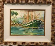 Maui Carthaginian Ship Watercolor By Jerome Fisher Signed Frame 20x24make Offer