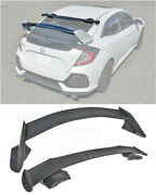 For 16-up Honda Civic Hatchback Jdm Spoon Style Roof Wing And Type-r Rear Spoiler