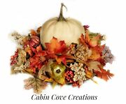 Fall White Pumpkin Floral Arrangement Fall Dining Centerpiece Burlap