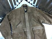 Real Leather Men Brown Utility Suede Jacket Draw String Zip Up Size L Pockets