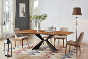 Esf Modern 1712 Walnut Finish Dining Table With 1711 Chairs Set Of 7 Pieces