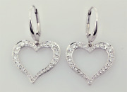 1.41ct Natural Round Diamond 14k Solid White Gold Lever Back Heart Hoops Earring